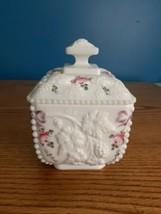 "Westmoreland Puff Box Beaded Edge -  Grape w/ Rose & Bow Decoration - 4""... - $15.79"