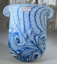 """Gozo Malta Glass vase """"collection The Big Blue by Besson"""" Pop Art Deco N... - $50.00"""