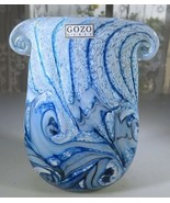 "Gozo Malta Glass vase ""collection The Big Blue by Besson"" Pop Art Deco N... - $50.00"