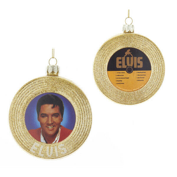 "Primary image for KURT ADLER ELVIS® 3.5"" GLASS GOLD RECORD TWO-SIDED GOLD GLITTERED XMAS ORNAMENT"