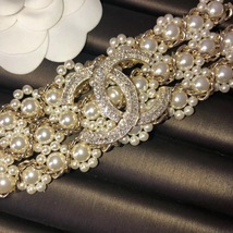 NEW Authentic CHANEL 2019 Multi Strand Crystal CC Gold Chain Pearl Bracelet  image 8