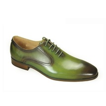 New Handmade Men Genuine Leather Handmade Olive Green Burnished Toe Oxford Shoes - $119.99+