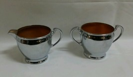 Vintage SILVERPLATE/COPPER 2 PC ROYAL ROCHESTER SUGAR/CREAMER set # 23280 - $7.71