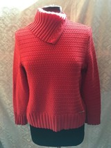 Geiger Women's Red Pullover Sweater Size 40 M Turtleneck Wavey Cable Kni... - $54.03