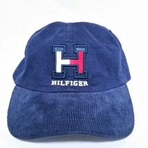 VTG Tommy Hilfiger Leather Strapback Hat Corduroy Spell Out Cap 90s Colo... - $59.39