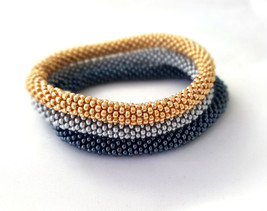 Roll Nepal Beaded Handmade Friendship Seed Bead Bracelets, Gold Silver G... - $18.00+