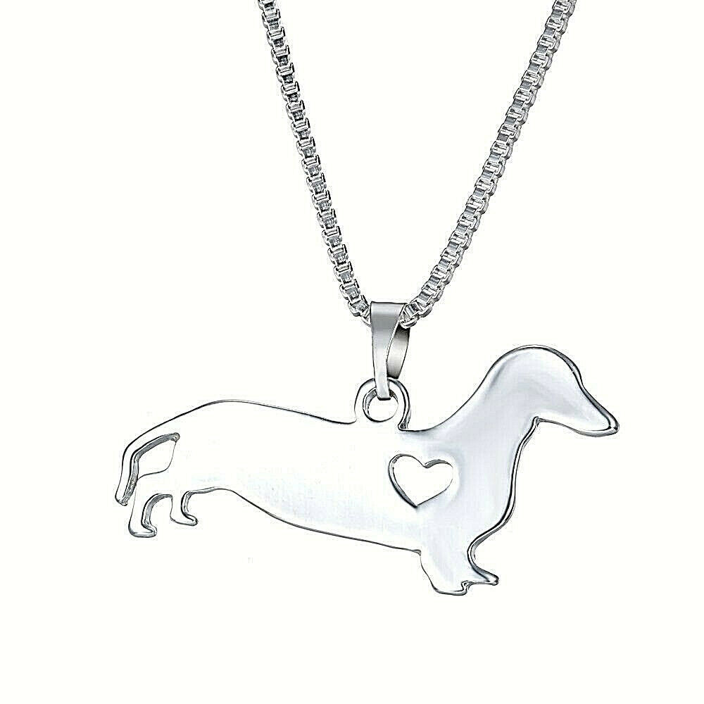 Primary image for Dachshund Love Pendant Necklace Sterling Silver NEW