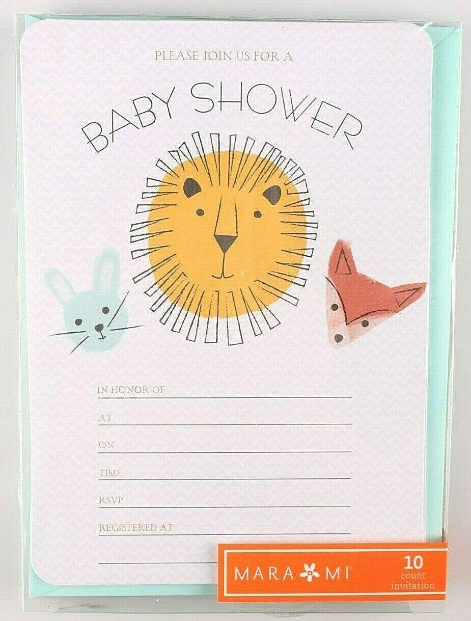 10ct Gartner Studios Mari Mi Baby Animals Neutral Baby Shower Invitation Cards