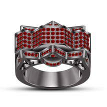 Classic Red Garnet 925 Sterling Silver 14k Black Rhodium Plated Ladies Band Ring - $142.56