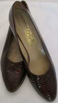 Salvatore Ferragamo Brown Leather Pumps 8 AA Croc Insets Italy - $34.64
