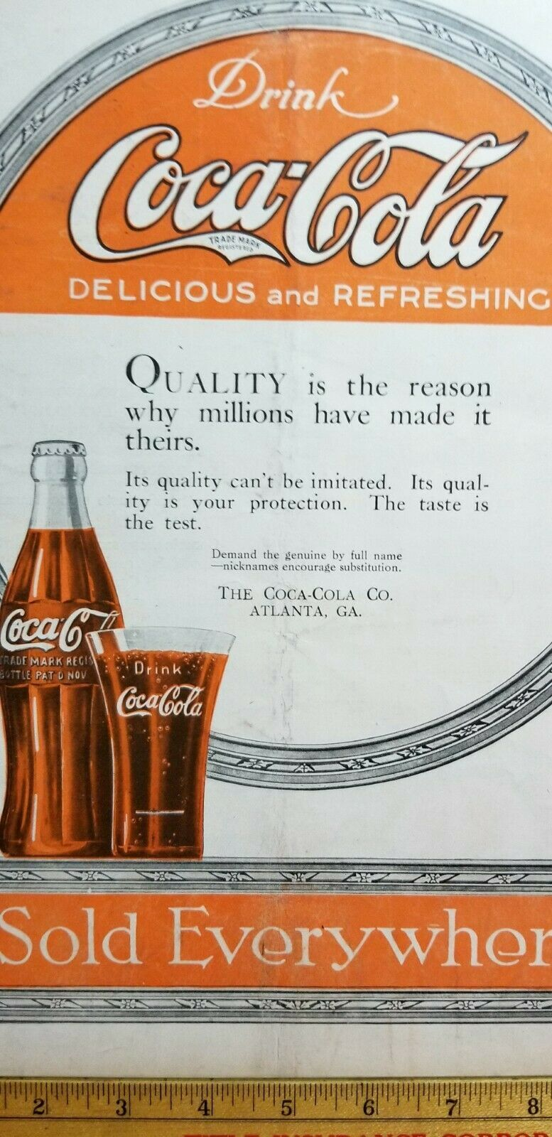 "Antique 1919 Paper Advertising COCA COLA ""Sold Everywhere"" LESLIE'S WEEKLY A7 - $20.25"