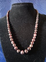 "17"" Handmade Graduated Garnet Beaded Necklace Z162 - $30.00"