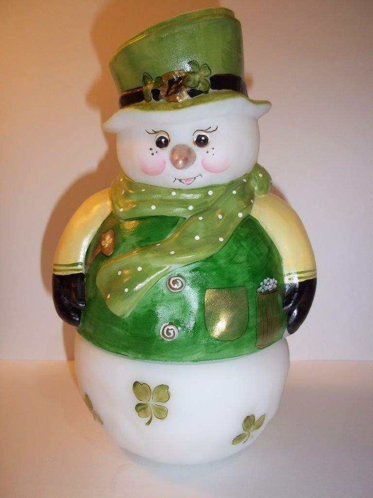 Fenton Glass Snowman Fairy Light Lamp Luck of the Irish St Pat's LE GSE #4 of 14