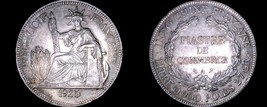 1925-A French Indo-China 1 Piastre World Silver Coin - Vietnam - $199.99