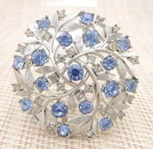 CROWN TRIFARI Blue Clear Rhinestone Silver Tone Large Floral Flower Brooch Pin - $99.00