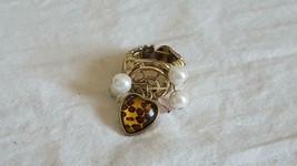 Vintage Goldtone Leopard Heart Charm Dangle Stretch Ring,Sz 5, Fashion,Costume - $4.94