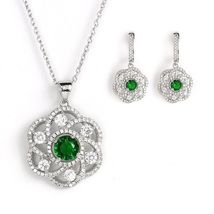 United Elegance Silver Tone Set With Faux Emerald & Swarovski Style Crystals - $29.99