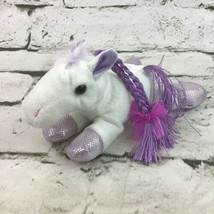 Unipak Pony Mini Lay-Down Plush White Purple Braided Hair Shimmer Hooves... - $9.89