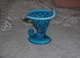 Vintage 1950s Fenton Crystal Opalescence Blue Hobnail Cornucopia Trinket Vase - $25.00