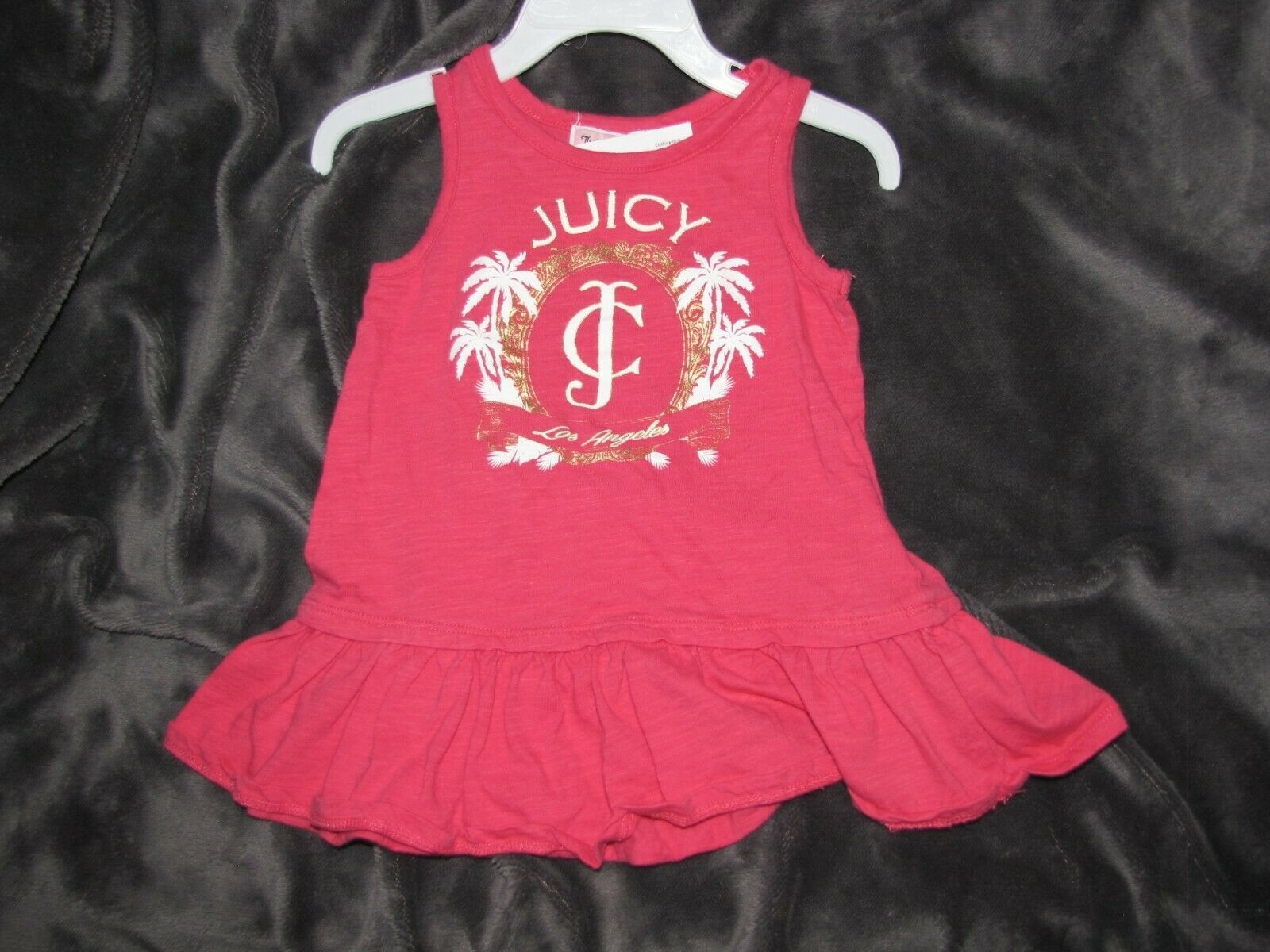 Primary image for Juicy Couture Baby Girl Pink Drop Waist Ruffle Dress 12-18 Gold Logo Tank