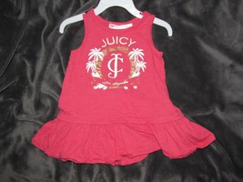 Juicy Couture Baby Girl Pink Drop Waist Ruffle Dress 12-18 Gold Logo Tank - $14.84