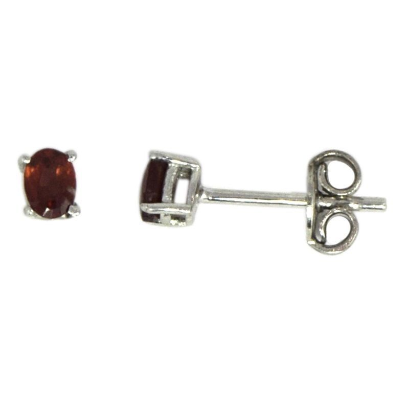 3X4MM Oval Prong Setting Garnet Gemstone 925 Sterling Silver Earring SHER0134