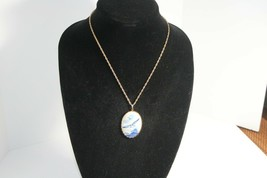 """Cameo Shaped Necklace with blue seagull   11"""" chain drop  Gold plated c... - $12.86"""