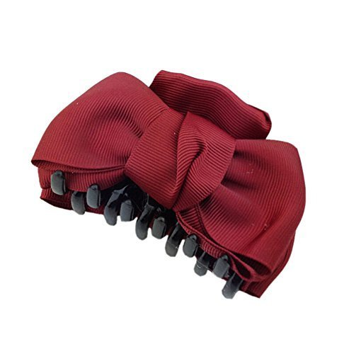 [Set Of 2] Handmade Bowknot Jaw Clip Hair Styling Claws, 3.7 inches, Claret-Red