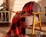 Plaid Blanket Twin Size - 60x80 Black & Red - Printed Buffalo Flannel Fleece - S