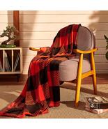Plaid Blanket Twin Size - 60x80 Black & Red - Printed Buffalo Flannel Fleece - S - $42.32