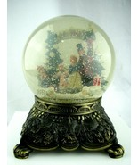 Large Vintage -Plays a song- Music Snow Globe Glitter Metal Base Mercuri... - $59.35