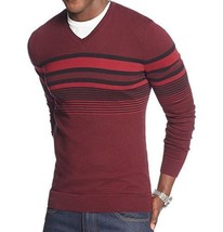 Alfani Men's V-neck Raisin Torte Black Combo Striped Pullover Sweater New - $19.99+