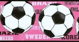 Womens World Cup Soccer Ball Wallpaper Border JE3737BD York Wallcovering - $16.99