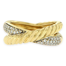 "Authentic David Yurman 18k Yellow Gold Diamonds ""X"" Crossover Band Ring  - £1,117.82 GBP"