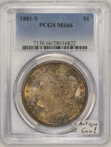 1881-S Morgan Dollar PCGS MS-66 Antique Toned Gem! - $376.19