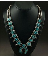 Vintage Pawn LONE MOUNTAIN TURQUOISE SQUASH BLOSSOM NECKLACE Museum Qual... - $8,550.00