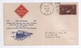 100th Anniversary Atlanta and West Point Railroad Company RPO Cover! Route - $6.99