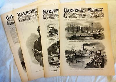4 Issues April 4 11 18 25 1863 Harpers Weekly ReIssued Historic Newspapers
