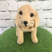 Small Plush Hound Puppy Golden Sitting Stuffed Animal Soft Toy Dog Youngrowth - $9.89