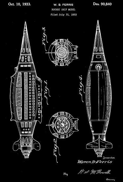 Primary image for 1933 - Rocket Ship Model - W. B. Ferris - Patent Art Poster