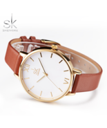 SK® Elegant & Simple Leather Wristwatch Lady Gold Luxury Dial Watches - $23.64