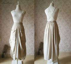 Women Loose LINEN SKIRT Summer Casual Boho Skirt Big Pockets Asymmetrical Skirt image 3
