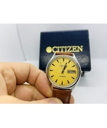 Vintage Citizen Bold Yellow with Tan Leather Strap wind up day date serv... - $88.00