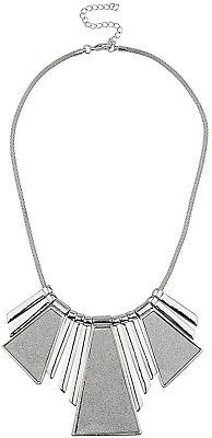 Lux Accessories Silver Tone Sticker Glitter Statement Necklace