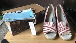 TOMS RED Painted Stripe Canvas Wedge US sz. 10 with box and storage bag - $17.81