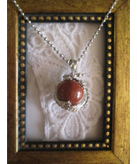 Red Sandstone Gemstone Sphere & Dragon Silver Tone Ball Chain Pendant Ne... - $7.60