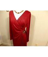 Women XL 1X 16 18 Below Knee Sleev Career Work Eveni Dress Waist Drape R... - $25.15