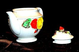 Ceramic TeaPot Japan Grey Pot with Yellow and Orange Flowers AB 535-B Vintage image 4