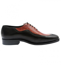 Icelandic Balmoral Hand Made Men's Split Toe Double Color Leather Shoes image 2