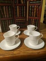 Vintage Corelle Three Dreams Calla Lily 4 Sets Cups & Saucers - $12.59